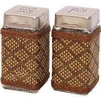 トスダイス スパイスボトル MESH COVERED KITCHEN CONTAINERS SALT&PEPPER BOTTLE SET BROWN TDFH004BR