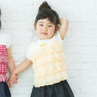【3can4on(Kids) (サンカンシオン)】プリントティアード半袖カットソーキッズ トップス カットソー・Tシャツ イエロー