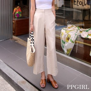 送料 0円★PPGIRL_A035 Lime linen pants / slacks / straight fit pants / high waist slacks /