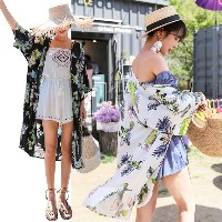 送料 0円★PPGIRL_9872 Carmen robe / long cardigan / beach look / print cardigan /