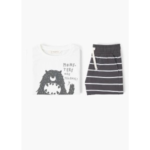 【SALE 40%OFF】パジャマ PACK . MONSTER (ダークグレー) MANGO