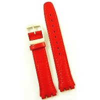 New 17mm (20mm) Sized Genuine Leather Strap Compatible for Swatch Watch - Red - 400NN20