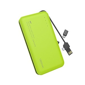 WST モバイルバッテリー 大容量 ケーブル内蔵 12000mAh power bank 急速充電 軽量 薄型 iPhone /Xperia / Galaxy / Android対応(グリーン)