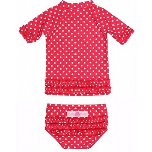 RuffleButts ラッフルバッツ水着 Red 4T UPF50+ ラッシュガード Red Polka Dot Ruffled Rash Guard Bikini (4T(100cm), Red...