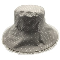 サマー リバーシブル帽子 広バケットハット light grey reversable wide brim ladies bucket hat (pokadot)