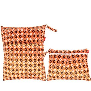 Damero 2pcs Pack Travel Baby Wet and Dry Cloth Diaper Organizer Bag, Orange Dots by Damero
