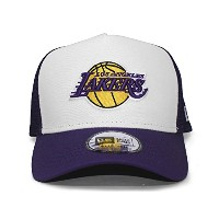 (ニューエラ) NEW ERA LOS ANGELES LAKERS 【D-FRAME TRUCKER MESH CAP/WHT-PUR】 ロサンゼルス レイカーズ