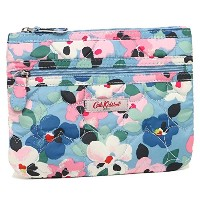 (キャスキッドソン) Cath Kidston ポーチ 667753 QUILTED HEART DOUBLE ZIP PURSE LARGE PAINTED PANSIES 化粧ポーチ GREY...