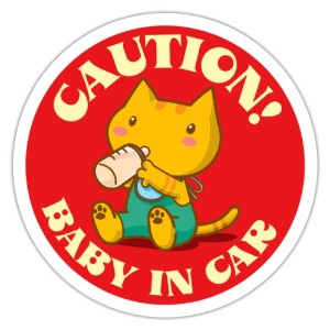 BABY IN CAR蓄光ステッカー(赤) CAUTION!