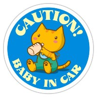 BABY IN CAR蓄光ステッカー(青) CAUTION!