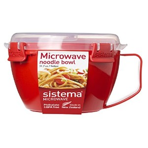 Sistema Microwave Cookware Noodle Bowl, 31.7 Ounce/ 4 Cup, Assorted Colors by Sistema