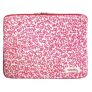 Case Scenario KEITH HARING Canvas Sleeve with Zip for MacBook Pro 15 Graffiti Print Pink