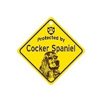 Protected by Cocker Spaniel スモールサインボード:コッカースパニエル 監視中 ミニ看板 アメリカ製 Made in U.S.A [並行輸入品]