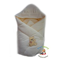 WARM THERMO TERRY NEWBORN Baby Swaddle Wrap Blanket, duvet, Sleeping Bag BABY'S HORN (hooded cream...