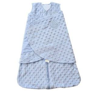 HALO SleepSack Plush Dot Velboa Swaddle, Blue, Newborn by Halo