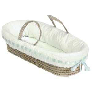 Baby Doll Bedding Pretty Ribbon Moses Basket, Blue by BabyDoll Bedding