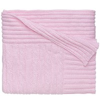 Elegant Baby 100% Cotton, Wide Cable Knit Blanket with Wide Ribbed Border 36 x 45 Inch in Pastel...