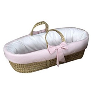 Baby Doll Bedding Gingham Trim Moses Basket, Pink by BabyDoll Bedding