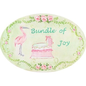 The Kids Room by Stupell Bundle of Joy with Pink Bassinet and Stork Oval Wall Plaque by The Kids...