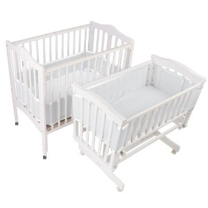 BreathableBaby Breathable Bumper for Portable and Cradle Cribs, White [並行輸入品]