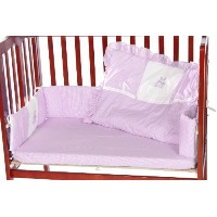 Baby Doll Bedding Gingham with Bear Applique Mini Crib/ Port-a-Crib Bedding Set, Lavender by...