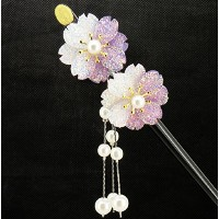 Life Connection かんざし 桜 紫 パープル