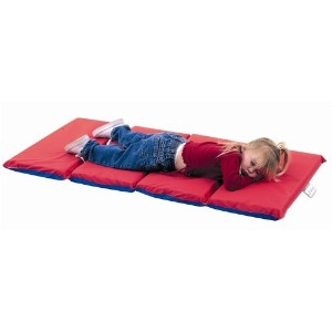 High School Rest Mat (4 Section 24 x 48 x 1 - Red and Blue in 10 Pack) by Children's Factory