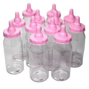 12PC PINK BABY BOTTLE BOX 5IN by Darice