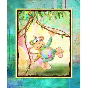 The Kids Room Monkey with Map Border Rectangle Wall Plaque by The Kids Room by Stupell