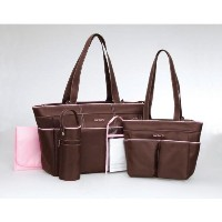 Carters 5-Piece Girls Diaper Bag Set - brown/pink, one size by Carter's