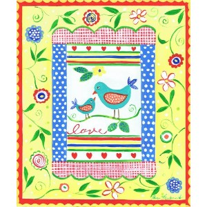 The Kids Room by Stupell Love Birds with Yellow Border with Flowers Rectangle Wall Plaque by The...
