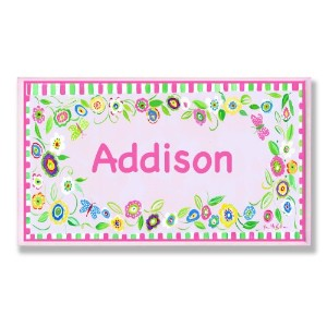 The Kids Room by Stupell Addison, Pink and Green Border with Flowers Personalized Rectangle Wall...