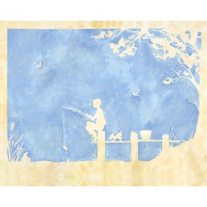 Oopsy Daisy Toile Boy Gone Fishing Stretched Canvas Wall Art by Heather Gentile-collins, 30 by 24...