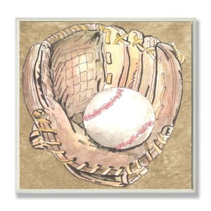 The Kids Room by Stupell Baseball Glove with Baseball on Brown Background Square Wall Plaque by The...
