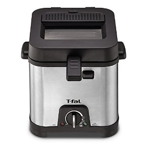T-fal FF492D Stainless Steel 1.2-Liter Oil Capacity Adjustable Temperature Mini Deep Fryer with...
