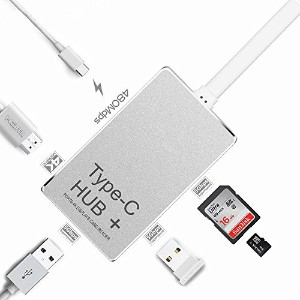 Podofo USB Type-c Hub 変換ハブ2USB 3.0ポート/ SD / TFカードリーダー/4K UHD HDMI  Macbook Pro / Air / Mac Mini対応 ...