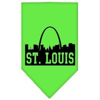 Mirage Pet Products 66-84 SMLG St Louis Skyline Screen Print Bandana Lime Green Small