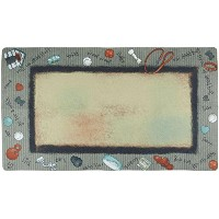 Drymate 16 by 28-Inch Dog Bowl Large Place Mat in Bow Wow Border Design, Beige by Drymate