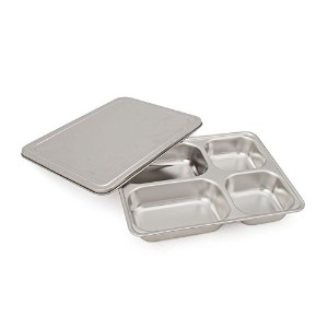 Aspire ステンレス 仕切り 分割 トレー プレート 弁当- 5 Sections - 4 Sections - One size