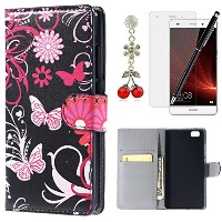 HB-Int 4 IN 1 HUAWEI P8 lite ケース 赤い花付きcase 蒲公英 ケース 草 黒いcover 可愛い Huawei LUMIERE 503HW カバー 合成皮革...