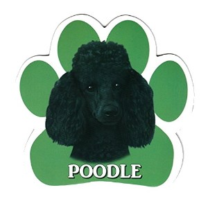 POODLE 足跡マグネットステッカー:プードル(ブラック) 画像イラスト入り 英語犬種名 Designed in the U.S.A [並行輸入品]