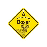 Protected by Boxer スモールサインボード:ボクサー 監視中 ミニ看板 アメリカ製 Made in U.S.A [並行輸入品]