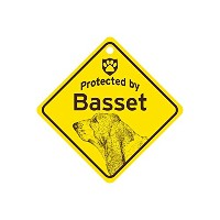 Protected by Basset スモールサインボード:バセット 監視中 ミニ看板 アメリカ製 Made in U.S.A [並行輸入品]