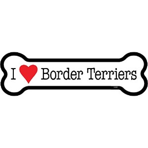 Border Terriers ボーンマグネットステッカー:ボーダーテリア 大好き 骨型 防水・耐水仕様 英語犬種名 MADE IN U.S.A [並行輸入品]