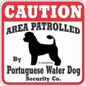 CAUTION AREA PATROLLED By Portuguese Water Dog Security Co. サインボード:ポーチュギーズウォータードッグ 注意 警戒中 セキュリティ 看板...