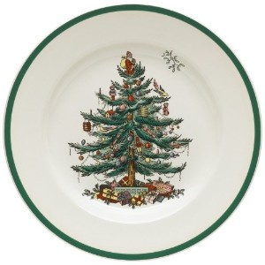 Spode Christmas Tree 10-1/2-Inch Dinner Plates, Set of 4 by Royal Worcester
