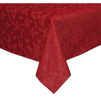 Lenox Holly Damask Tablecloth, 52 by 70-Inch, Red by Lenox