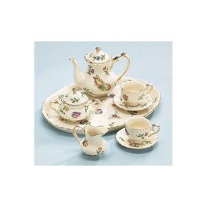 Miniature Porcelain Insect Teaset Beautiful Collectible(Pattern may Vary :Butterfly/Dragonfly/lady...