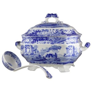 Spode Blue Italian Soup Tureen and Ladle Set by Spode