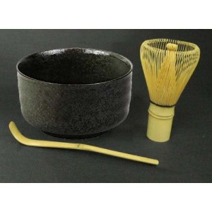 Happy Sales Tea Ceremony Set Bowl and Whisk Grey/Black by Happy Sales